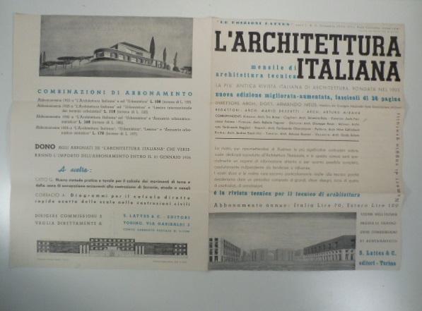 L architettura italiana mensile di architettura tecnica for Riviste di architettura italiane