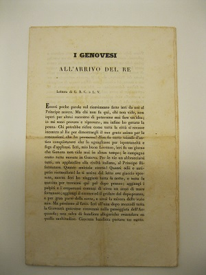 I genovesi all'arrivo del Re. Lettera di G. B. C. a L. V.