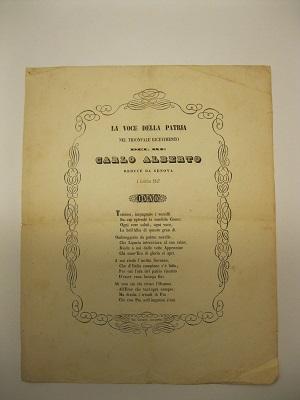 La voce della patria nel trionfale ricevimento del re Carlo Alberto reduce da Genova. 4 dicembre 1847