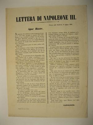 Lettera di Napoleone III. Palazzo delle Tuileries 11 giugno 1866. Signor Ministro