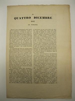 Il quattro dicembre 1847 in Torino