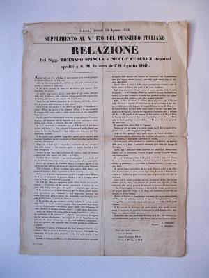 Relazione dei Sig. Tommaso Spinola e Nicolò Federici deputati spediti a S. M. la sera dell'8 agosto 1848. Supplimento al n. 170 del Pensiero Italiano. Genova, giovesì 10 agosto 1848