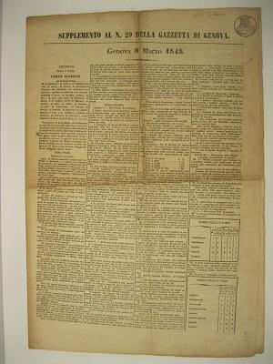 Supplemento al n. 29 della Gazzetta di Genova. Genova 8 marzo 1848. Premendoci di provvedere all'ordinamento della Milizia comunale dello stato...