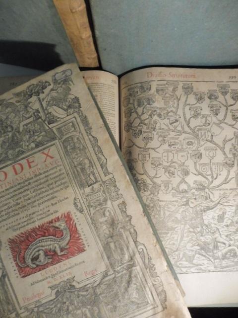 Corpus juris civilis. Digestum vetus D. Iustiniani Imp. ... (Segue): Infortiatum (qui secundus est digestorum tomus)... (Segue): Digestum novum... (Segue): Codex D. Iustiniani... Novem libros... (Segue): Authentica D. Iustiniani Imp. Aug. Novellarum Volumen...(Segue): Institutiones emendatae cum reliqua iuris...