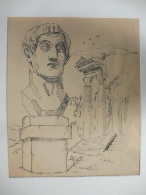 Disegno a china originale a firma Vinicio Paladini raffigurante rovine fantastiche.