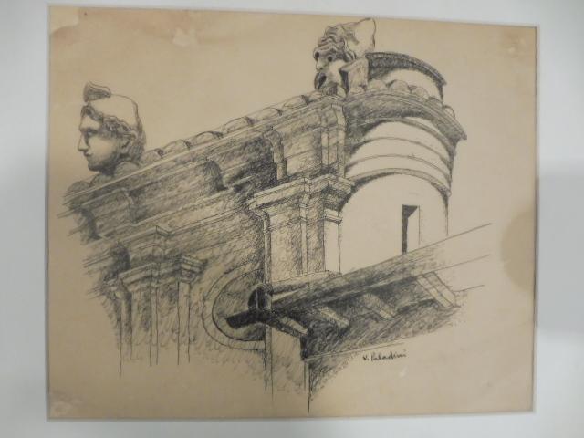 Disegno a china originale a firma Vinicio Paladini raffigurante un'architettura barocca con resti archeologici fantastici