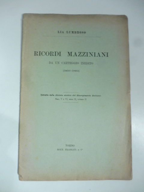Ricordi mazziniani di un carteggio inedito (1856-1859)