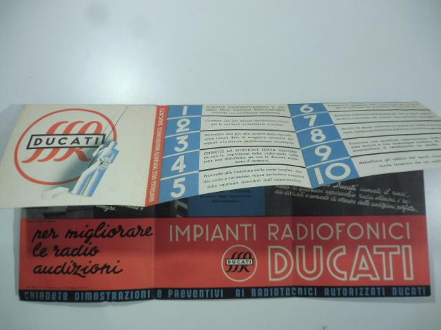 Impianti radiofonici Ducati. Come migliorare le radioaudizioni. (Pieghevole pubblicitario)