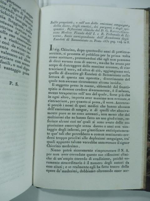 Sulle proprietà e sull'uso delle emissioni sanguigne della dieta, degli emetici, dei purganti e degli epispastici. Riflessioni  di D. G. B. Chiorino...(Stralcio da: Nuovo giornale de' letterati. N. 57. 1831)
