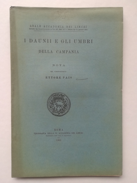I Daunii e gli Umbri della Campania. Nota
