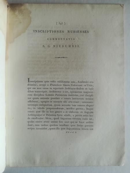 Inscriptiones nubienses commentatio lecta in conventu Academiae Archaelogiae