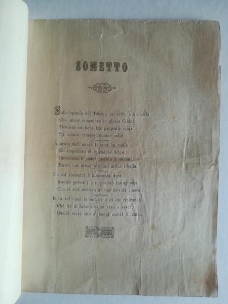 ...Angelo Felici di Civita Castellana e Giuseppina Pierini di Magliano Sabino d'indissolubil nodo i loro amori consacravano...