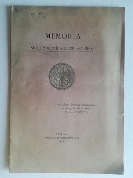 Memoria sulla Società storica savonese