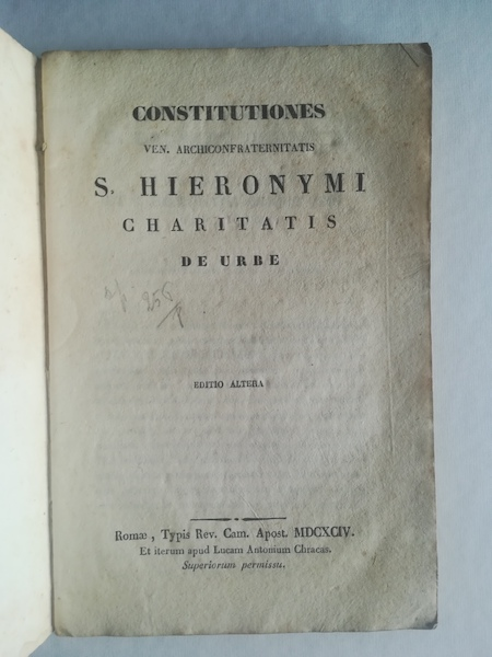 Constitutiones Ven. Archiconfraternitatis S. Hieronymi Charitatis de Urbe. Editio altera